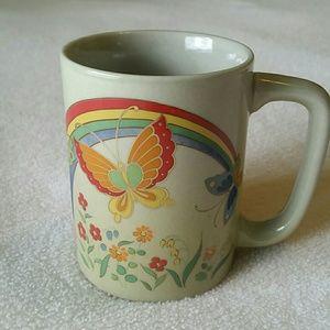 Vintage Otagiri Rainbow & Butterflies Coffee Mug